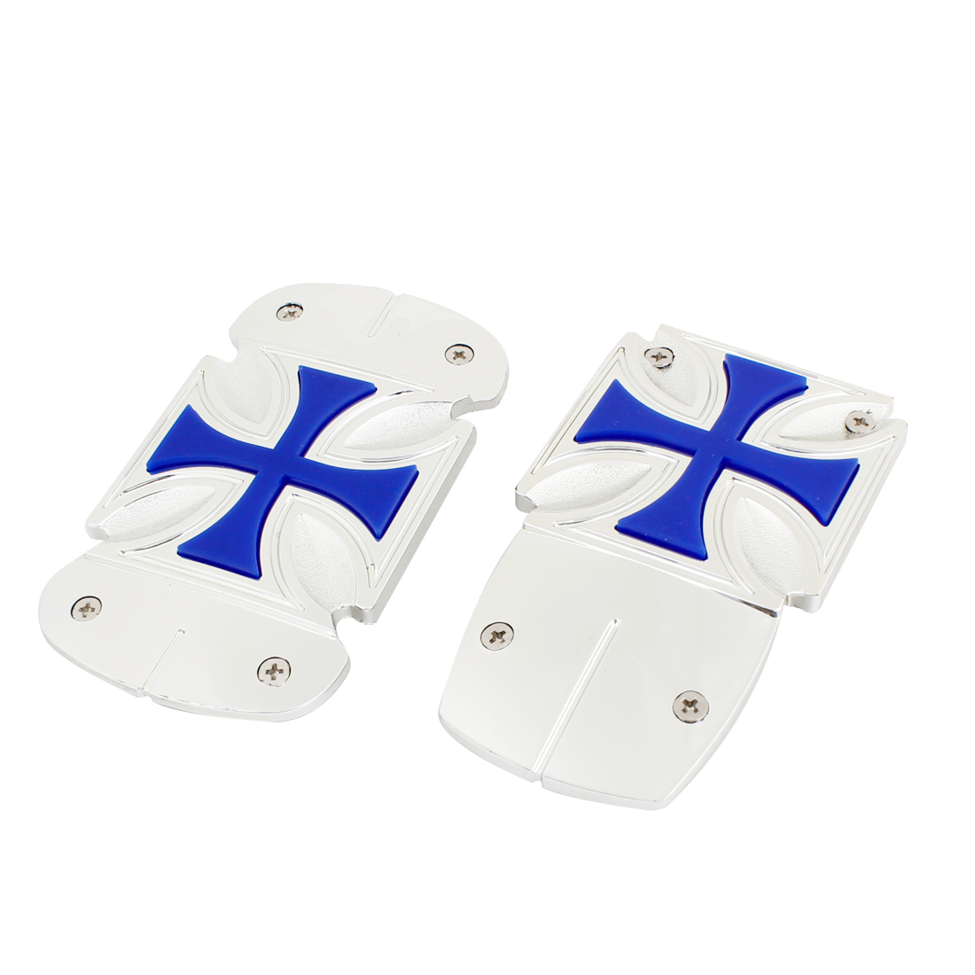 2x Silver Tone Blue Nonslip Gas Brake Pedal Protector Cover for Auto