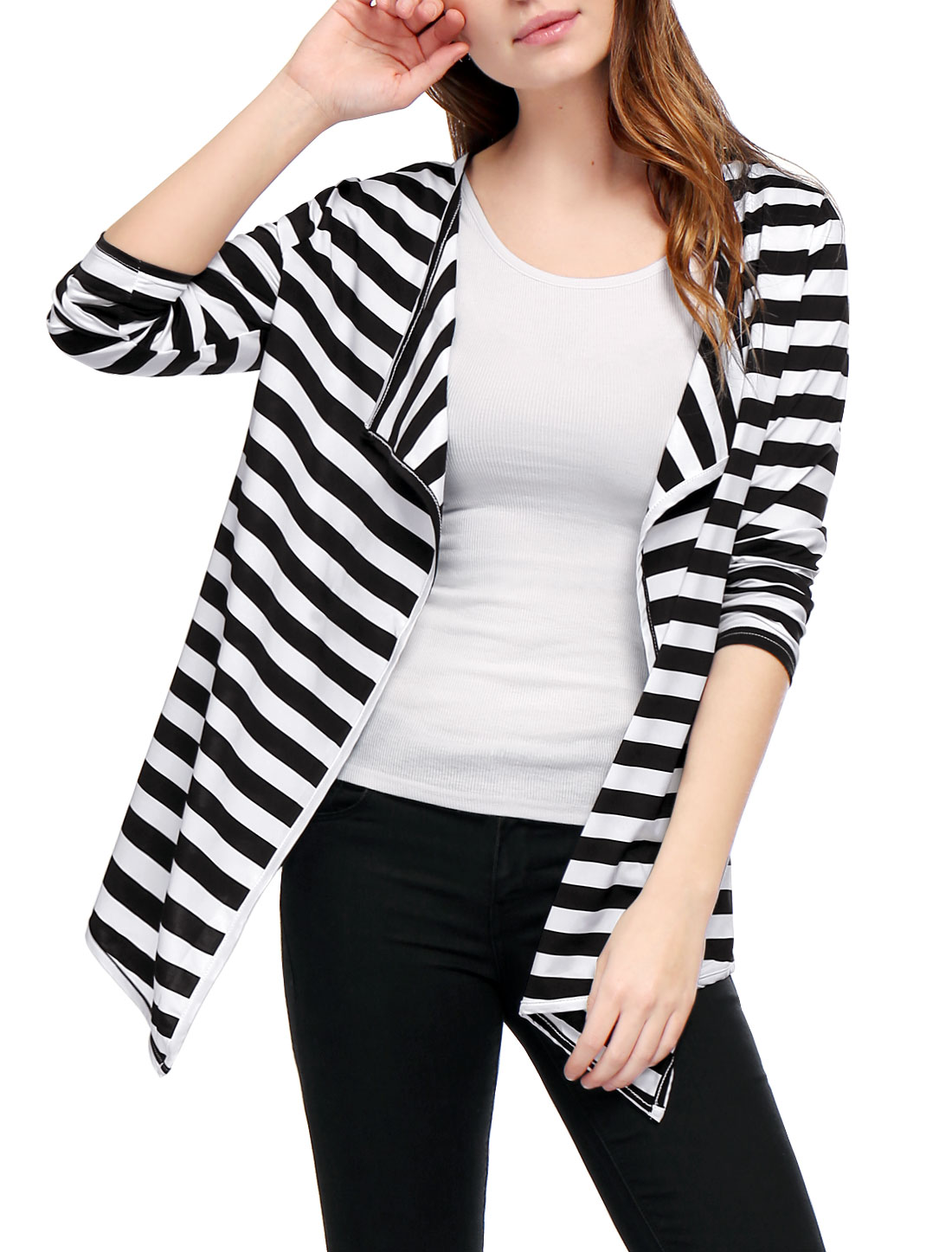 Ladies Open Front Bracelet Sleeves Draped Stripes Cardigan Black White XS