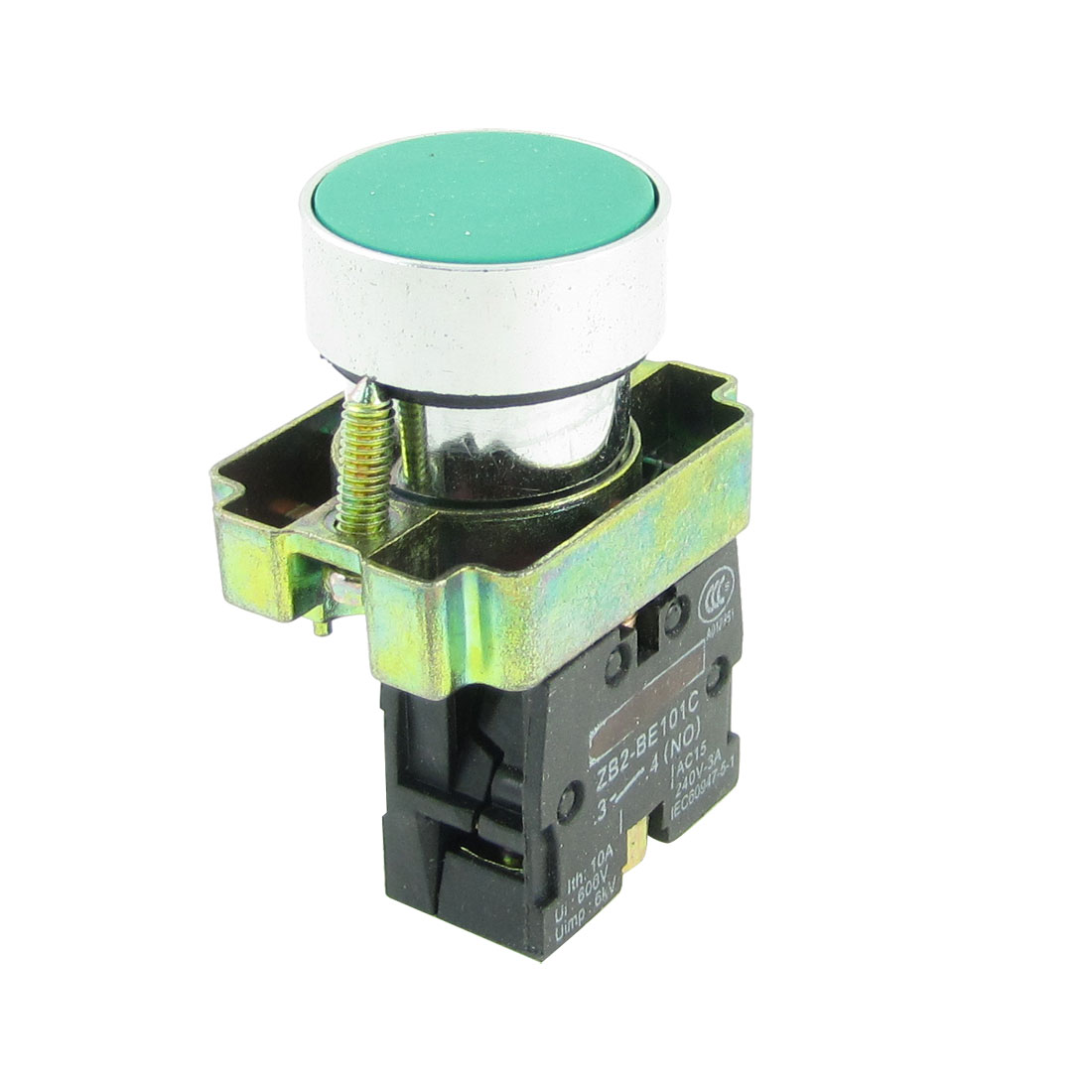 Ui600V Ith10A Panel Mounted Green Top Press Momentary Push Botton Switch