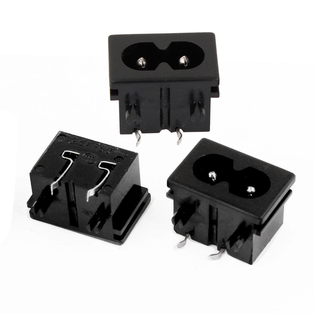 3pcs AC 250V 2.5A Panel Mount IEC320 C8 Power Inlet Socket Soldering 2-Terminal