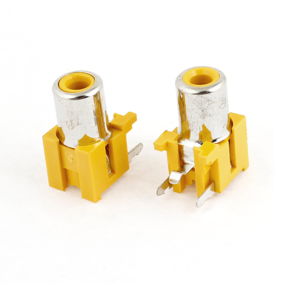 2 Pcs PCB Mount 3 Terminals Female 3.5mm Audio Jack Socket Yellow