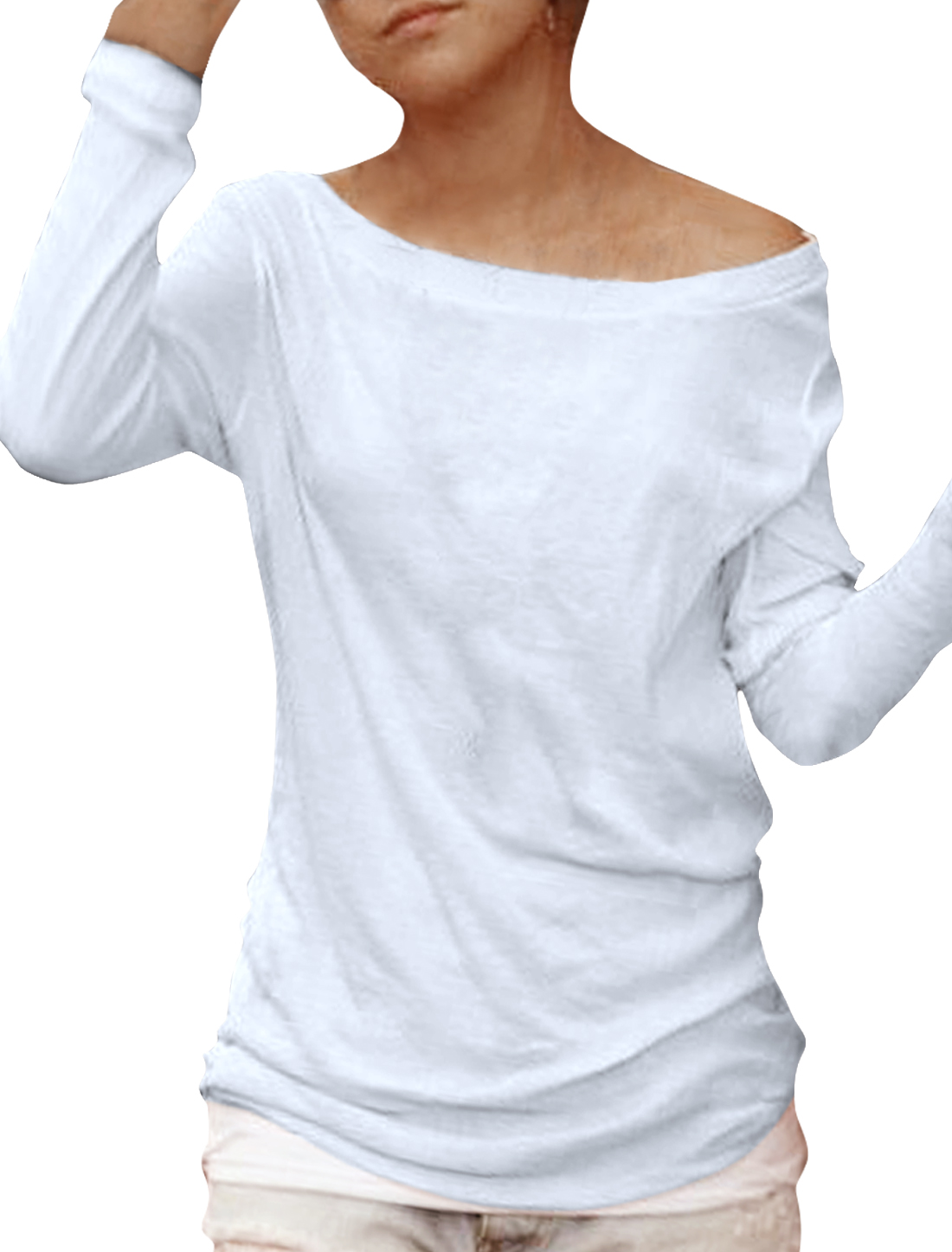 Woman White Long-sleeved Off Shoulder Stretch Leisure Tops XL