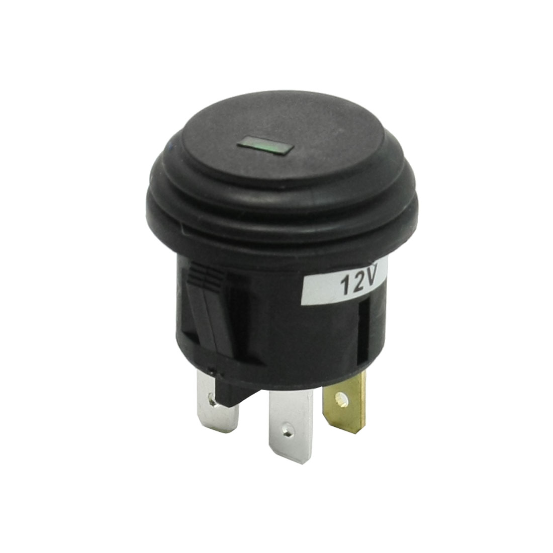 Green Indicator Self Locking 3 Terminals SPST Car Push Button Switch DC 12V 20A