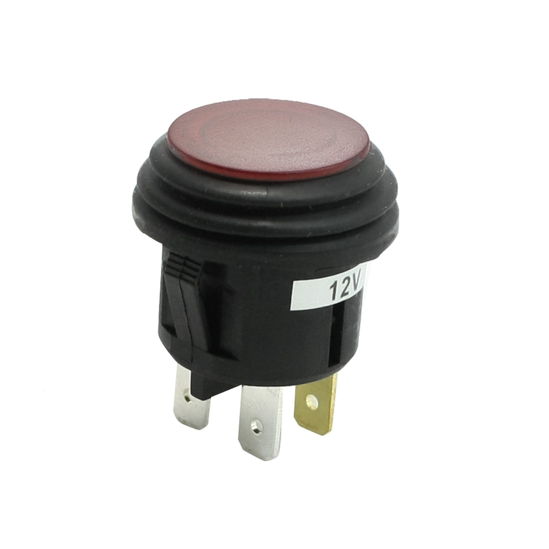DC 12V 20A Red Light Indicating Lamp SPST Flat Top Car Push Button Switch