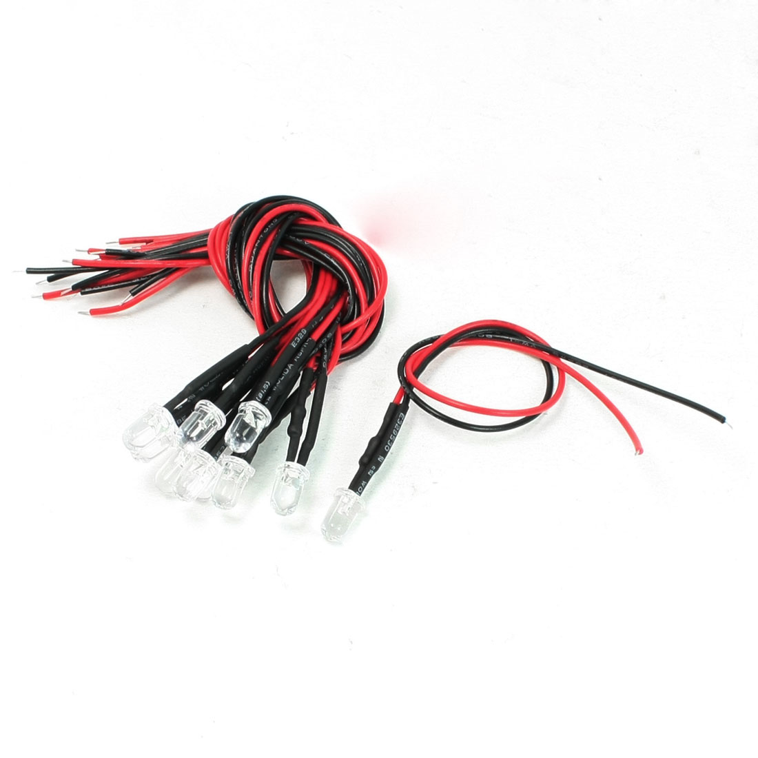 10 Pcs 0.1W 12V DC 2 Wires 5mm Dia Bulbs Red Light LED Lamp for Car Vehicle