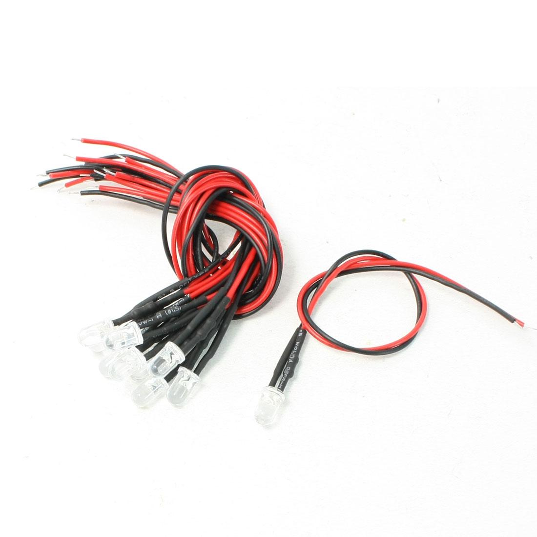 0.1W Power DC12V Volts Universal 2 Wire Car White Light LED Bulbs Lamp 10 Pcs