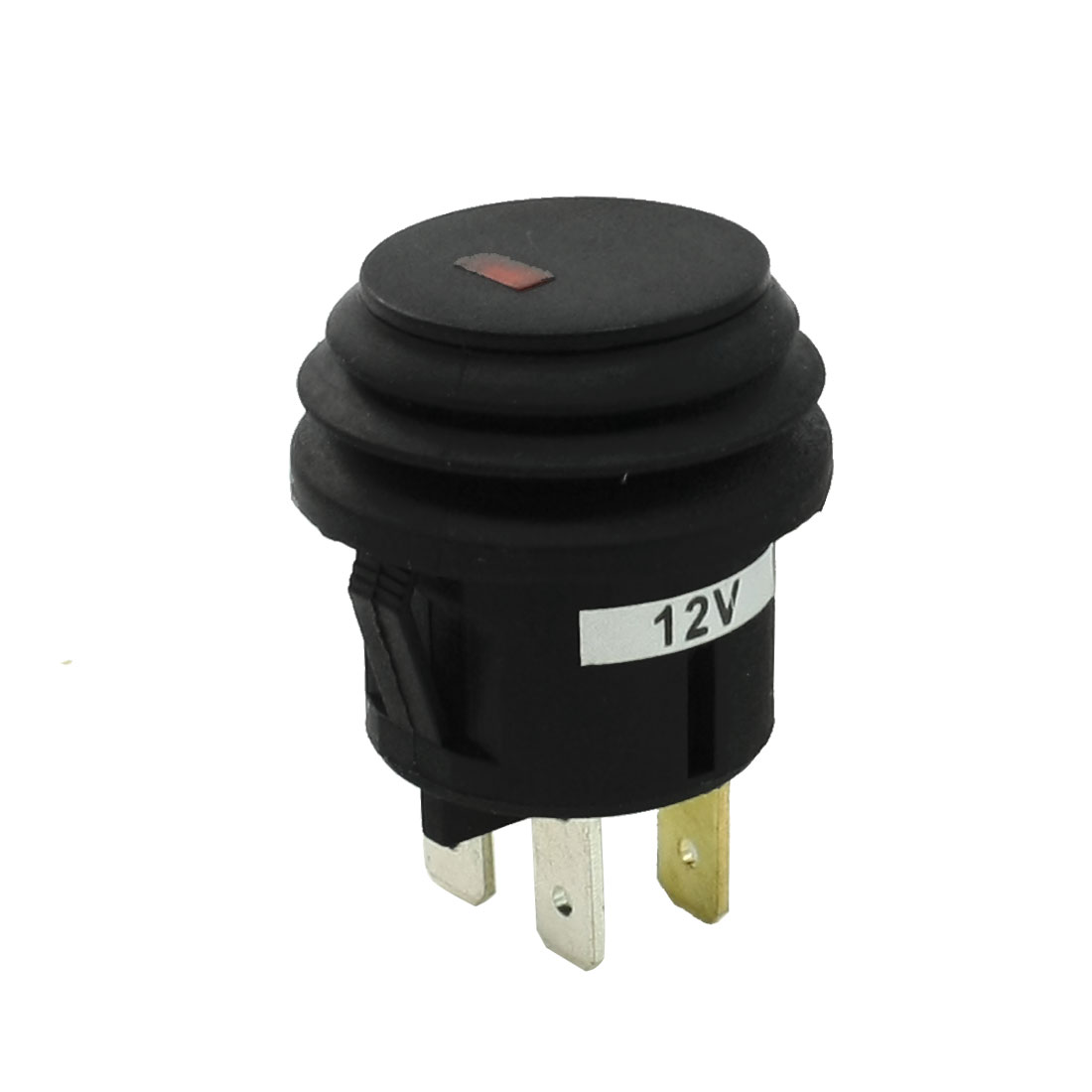 DC 12V 20A Red Indicator Light Folded Rubber Surrounded Car Button Switch
