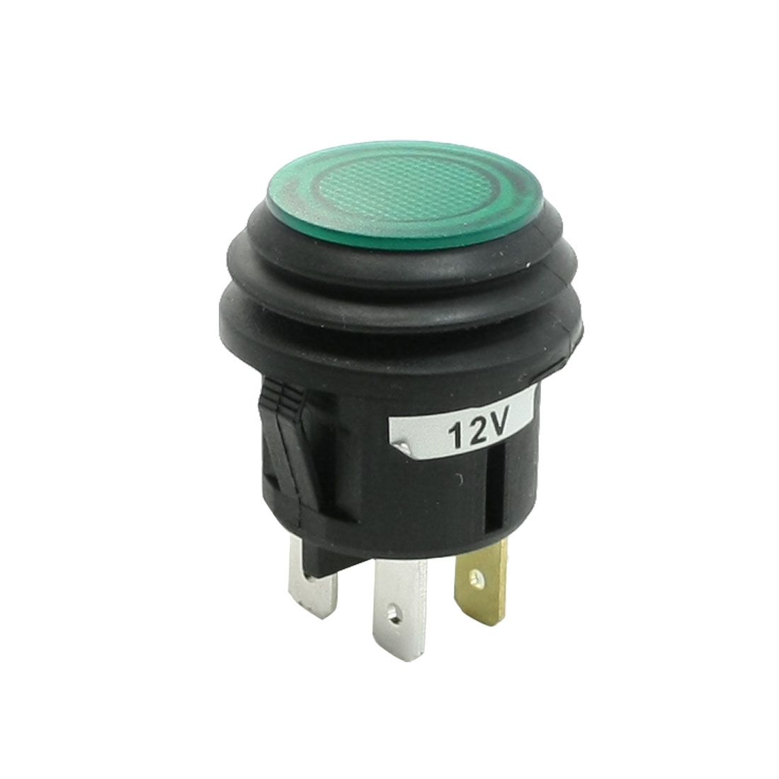 DC 12V 20A ON/OFF SPST Panel Mounted Green Pilot Lamp Car Push Button Switch