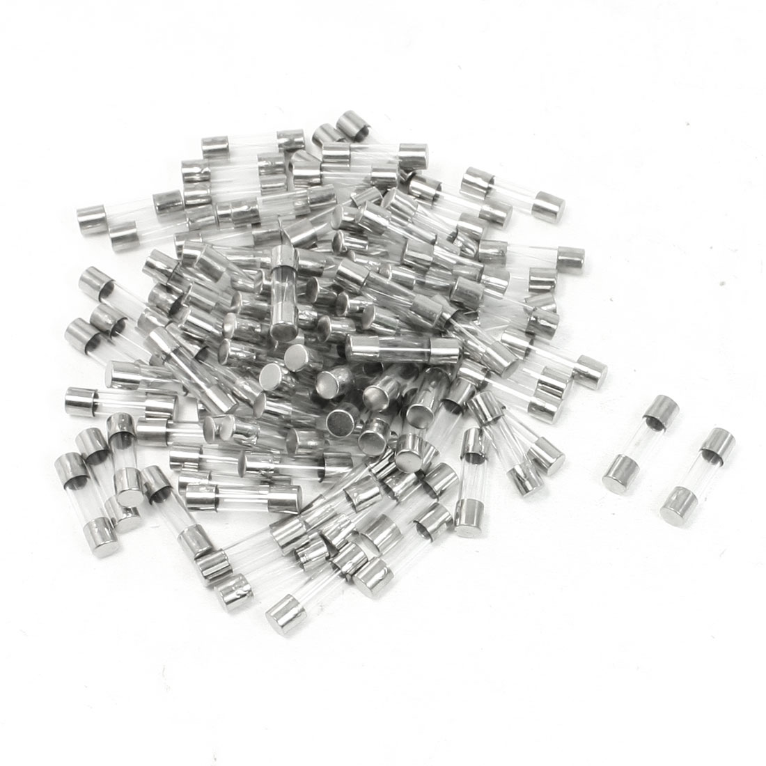 1A 250V Fast Blow Acting Metal Cap Both End 5x20mm Glass Tube Fuses 100 Pcs