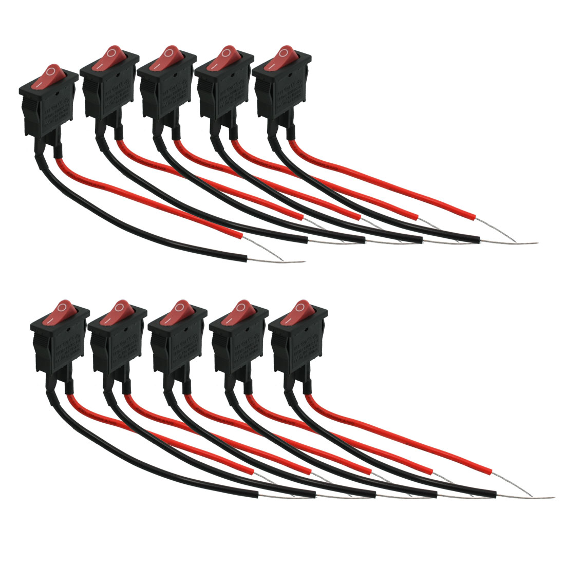 10 Pcs Panel Mounting 2-Wire Single Pole Single Throw Car Rocker Switch AC 125V AC 250V 4A