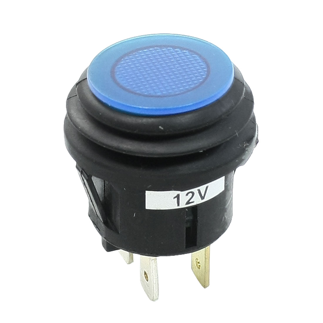 Blue Indicator Lamp Latching SPST Car Auto Push Button Switch DC 12V 20A