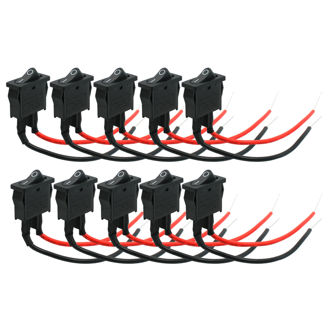 DC 12V 5A I/O ON-OFF SPST Snap in Rocker Switch 10 Pcs for Car Auto Vehicle