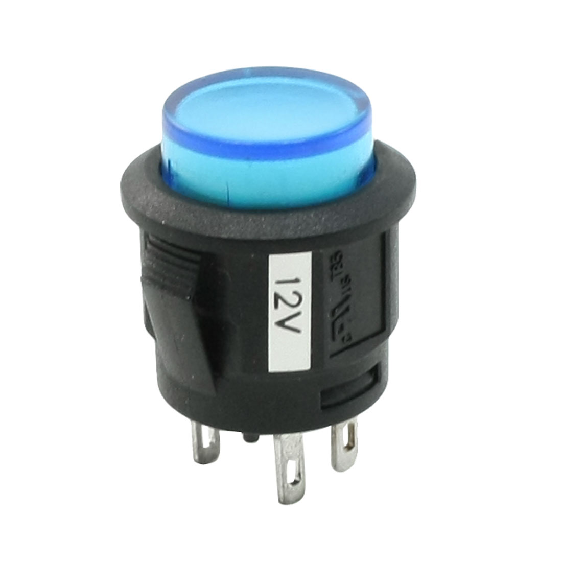 Panel Mounted 4 Pin Flat Cap Blue Indicator Auto Button Switch DC 12V 20A