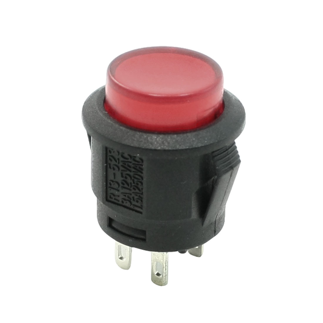 DC 12V 20A 4 Pin Terminals Red Pilot Lamp Self Locking Car Button Switch
