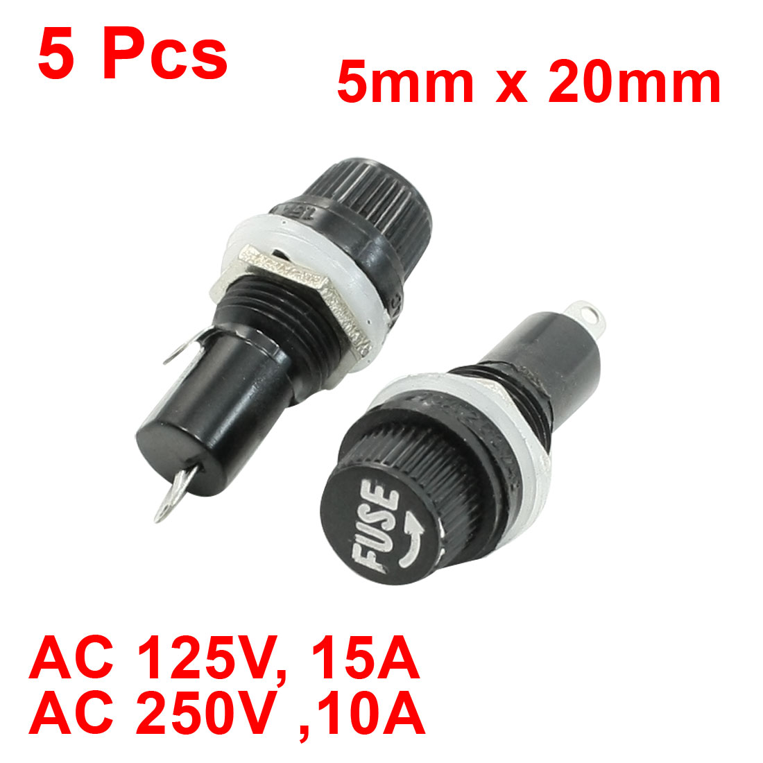 5 Pcs 5mm x 20mm Fuse Waterproof Fuses Holder AC 125V 15A 250V 10A