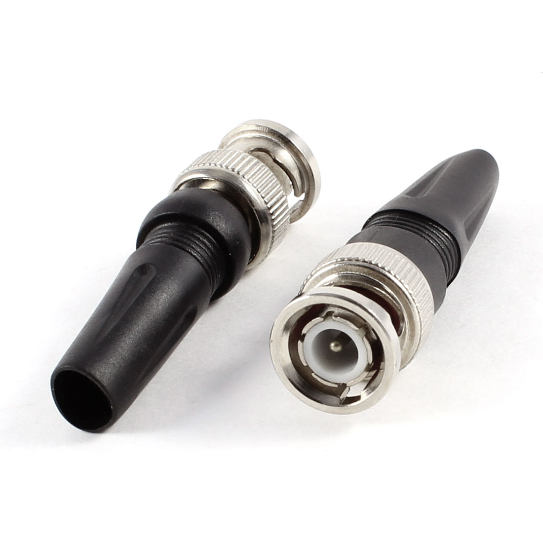 2 Pcs Plastic Metal Straight BNC Male Plug Connector Adapter