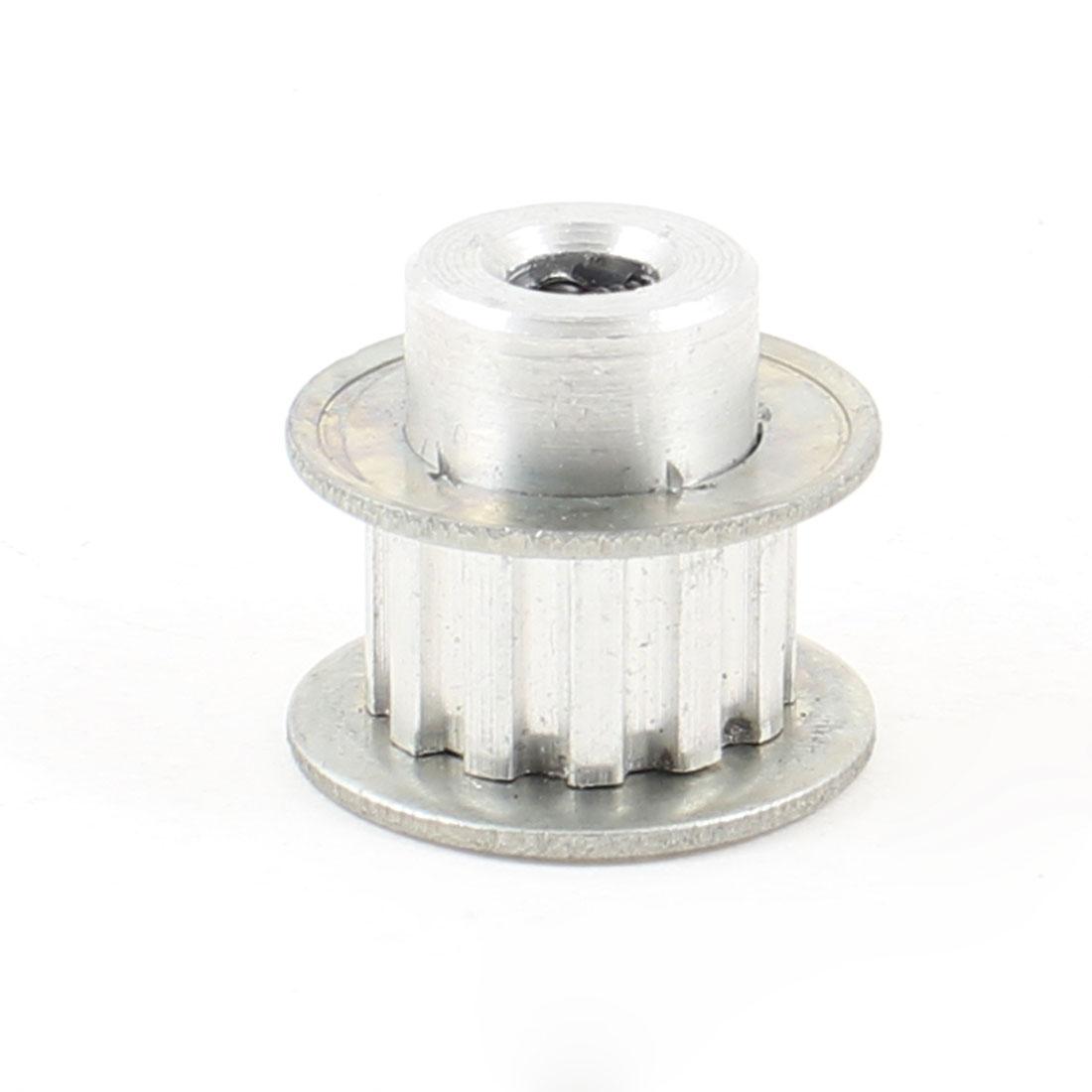 Silver Tone Aluminum Alloy 12 Teeth 6.35mm Pilot Bore Screwed Timing Pulley