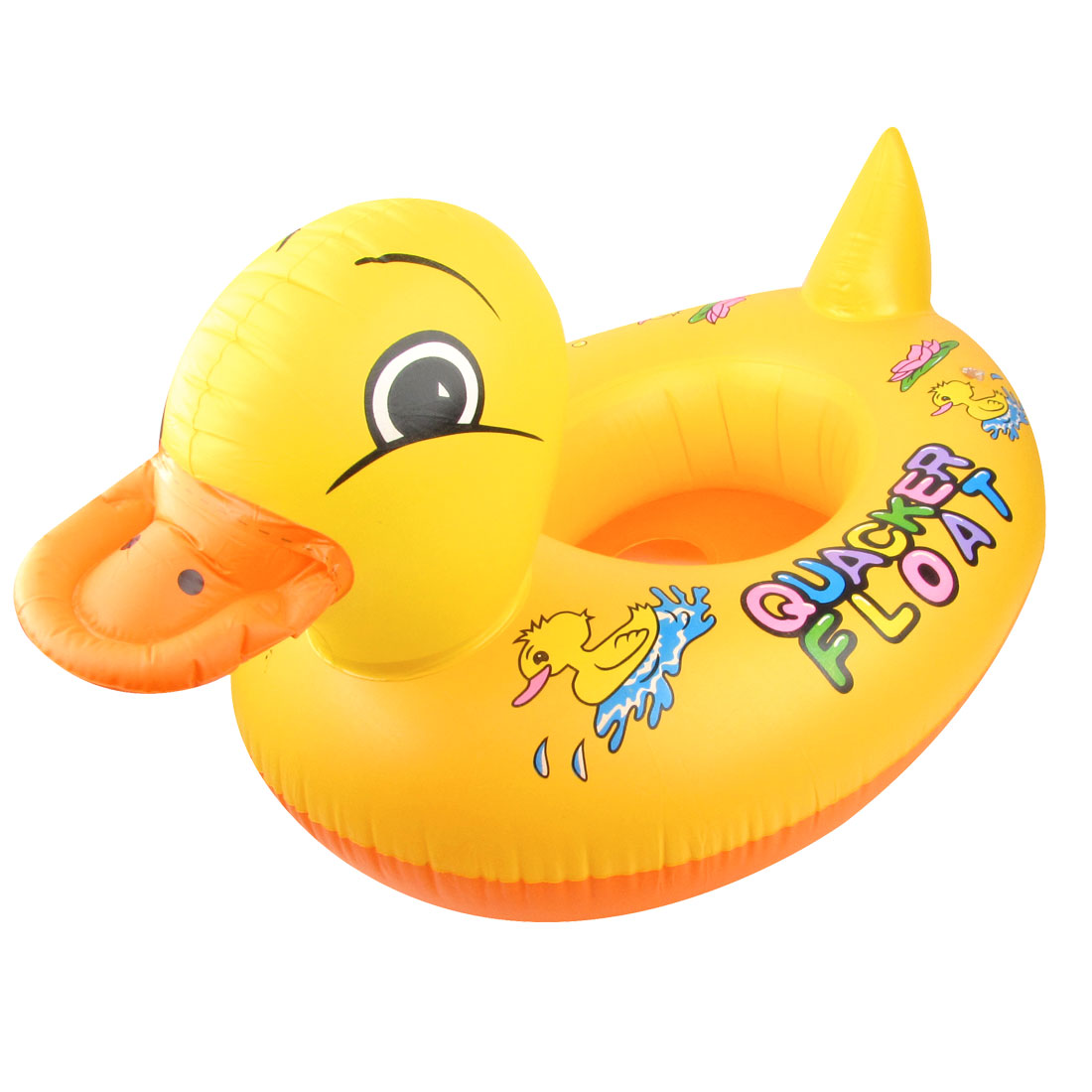 Child Orange Red Yellow Duck Pattern Inflatable Paddle Floating Swimming Boat