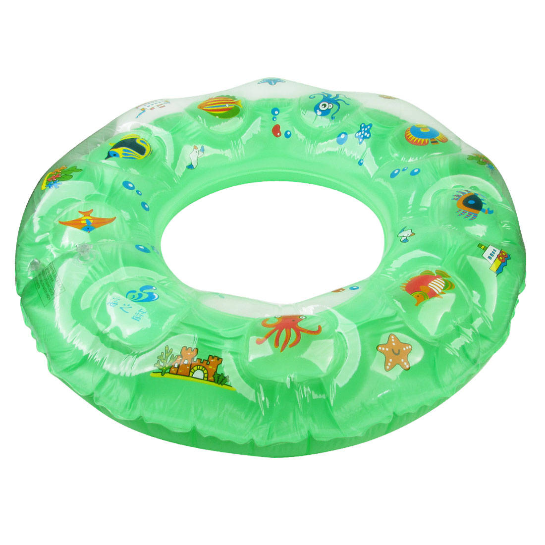 Multicolored Fish Star Bird Print Inflatable Swimming Ring Green