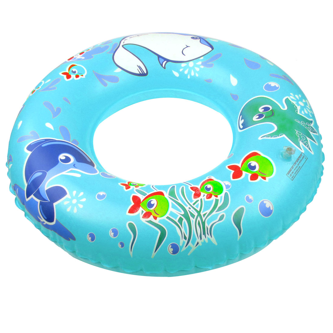 "Octopus Pattern 22"" Outside Diameter Inflatable Swim Ring Cyan"