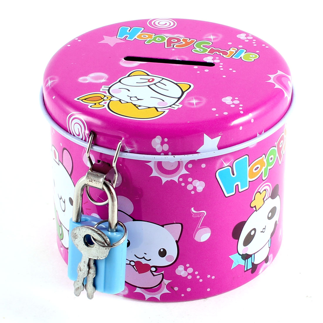 Cylinder Design Cartoon Print Fuchsia Piggy Bank Coin Money Saving Box w Padlock