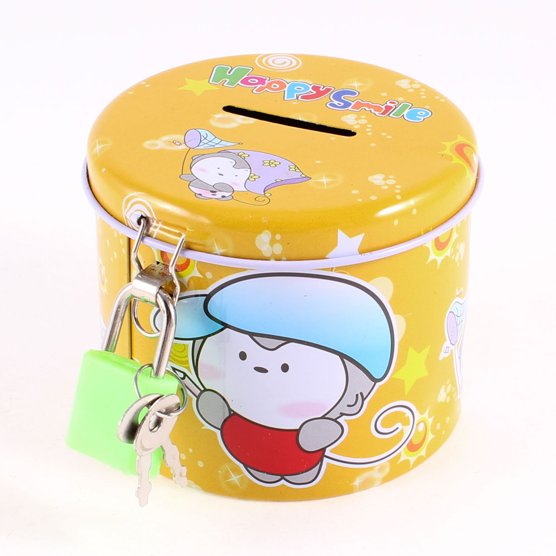 Yellow Round Design Cartoon Print Piggy Bank Coin Money Saving Box w Green Lock