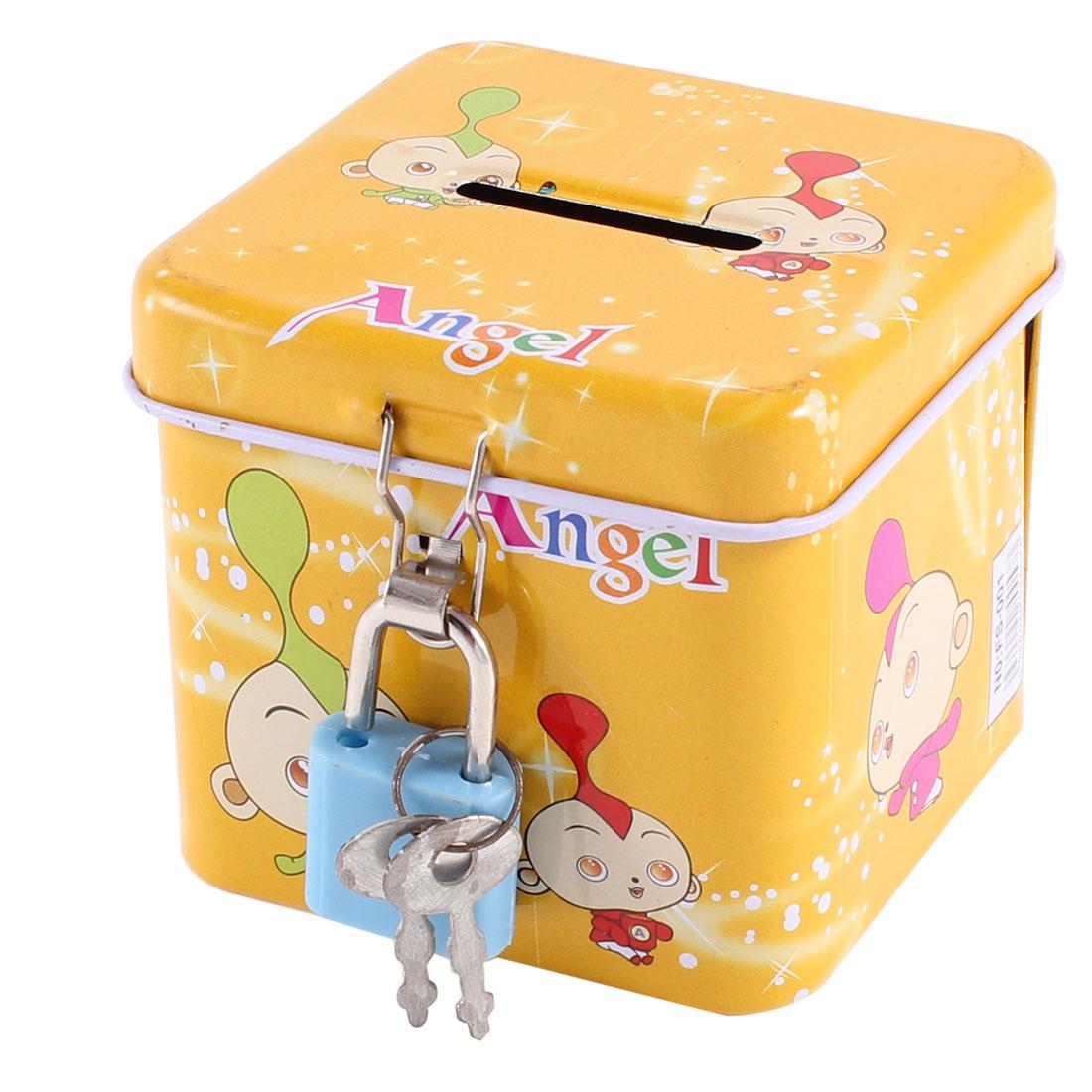 Cartoon Kid Pattern Metal Lockable Piggy Bank Coin Money Saving Box Yellow