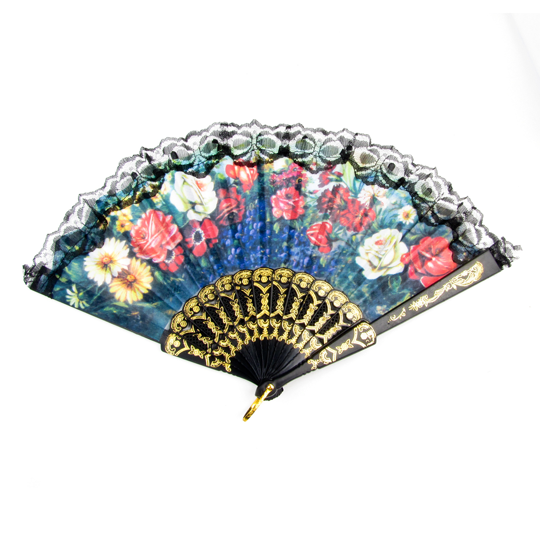 Black Plastic Ribs Gold Tone Metal Hanging D Ring Foldable Hand Fan