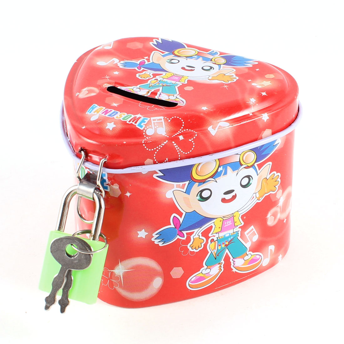 Heart Shaped Kid Printed Metal Piggy Bank Money Saving Box Red w Green Lock
