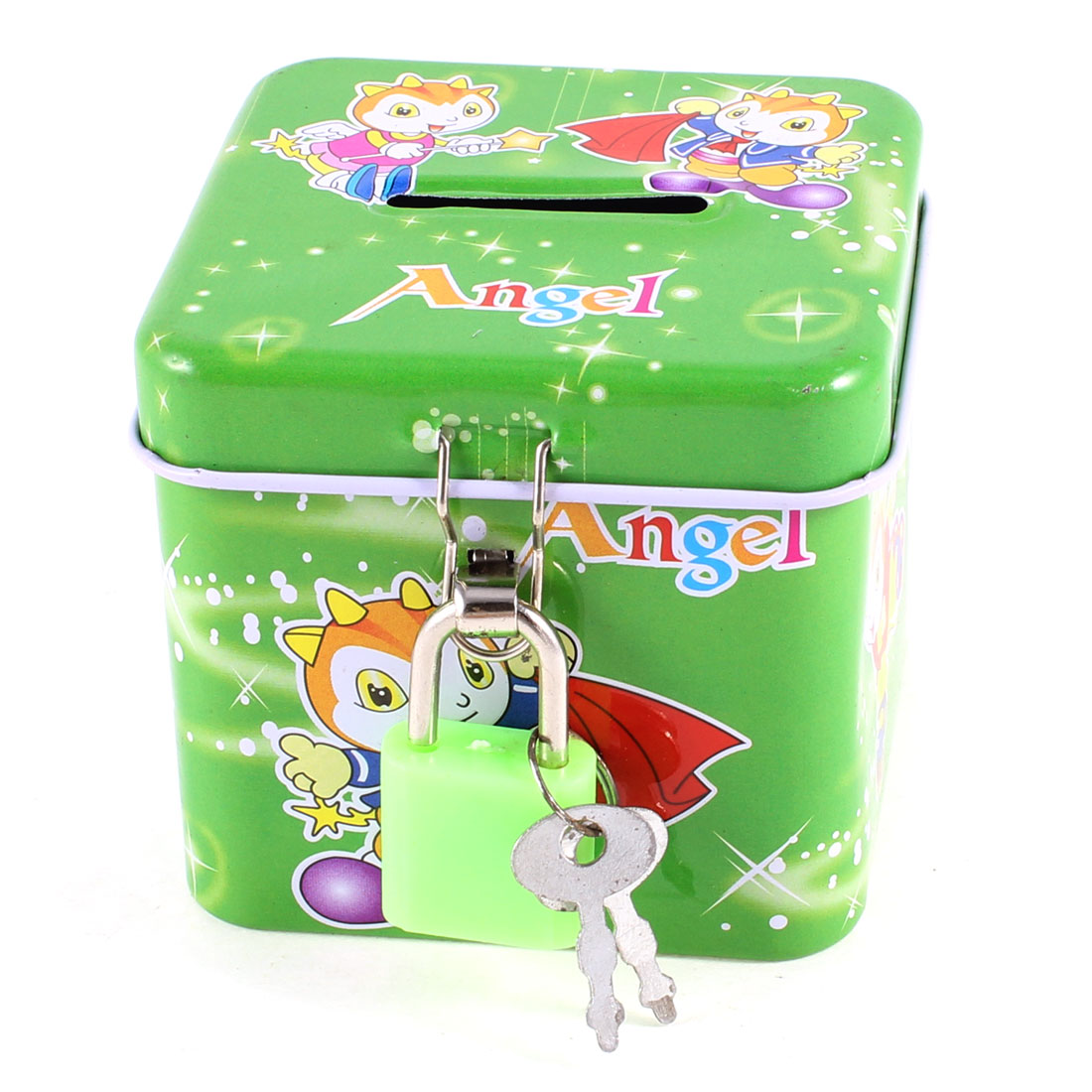 "2.8"" High Square Shaped Coins Pennies Piggy Bank Box Green w 2 Keys"
