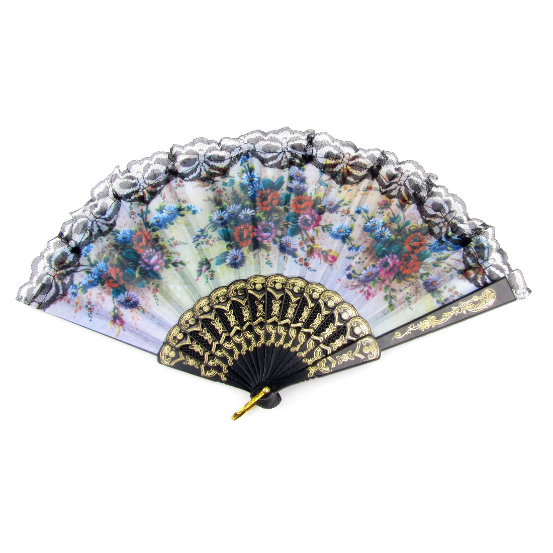 Protable Lace Edge Colorful Flower Pattern Terylene Fabric Hand Fan