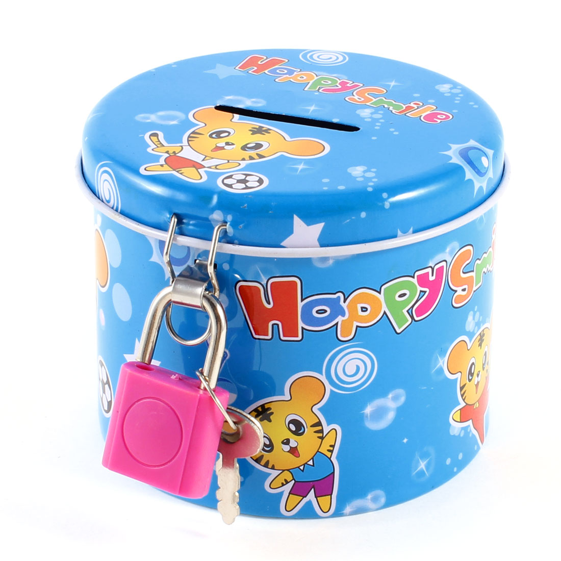 Cylinder Shape Coin Saving Money Box Piggy Bank Blue for Kids w Fuchsia Padlock