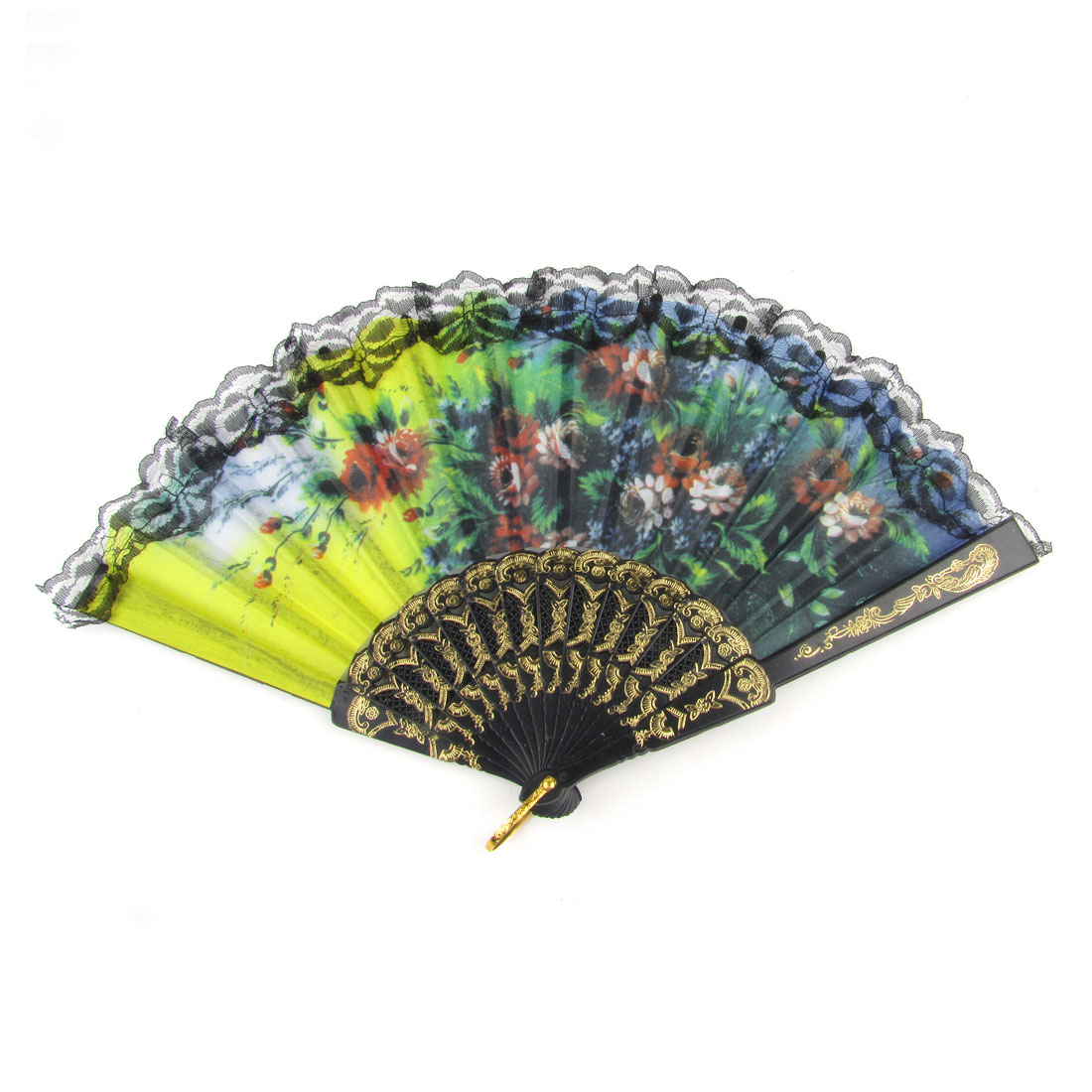 Multicolored Fabric Floral Print Lace Rim Foldable Dancing Hand Fan