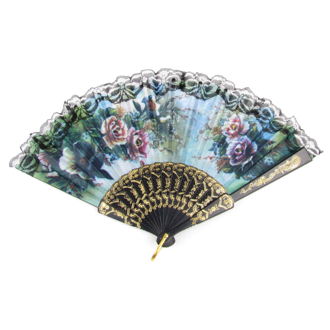 Summer Multicolor Floral Pattern Lace Hem Plastic Foldable Hand Fan