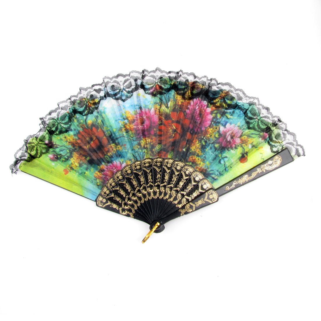 Foldable Colorful Flower Print Plastic Frame Cooling Hand Fan