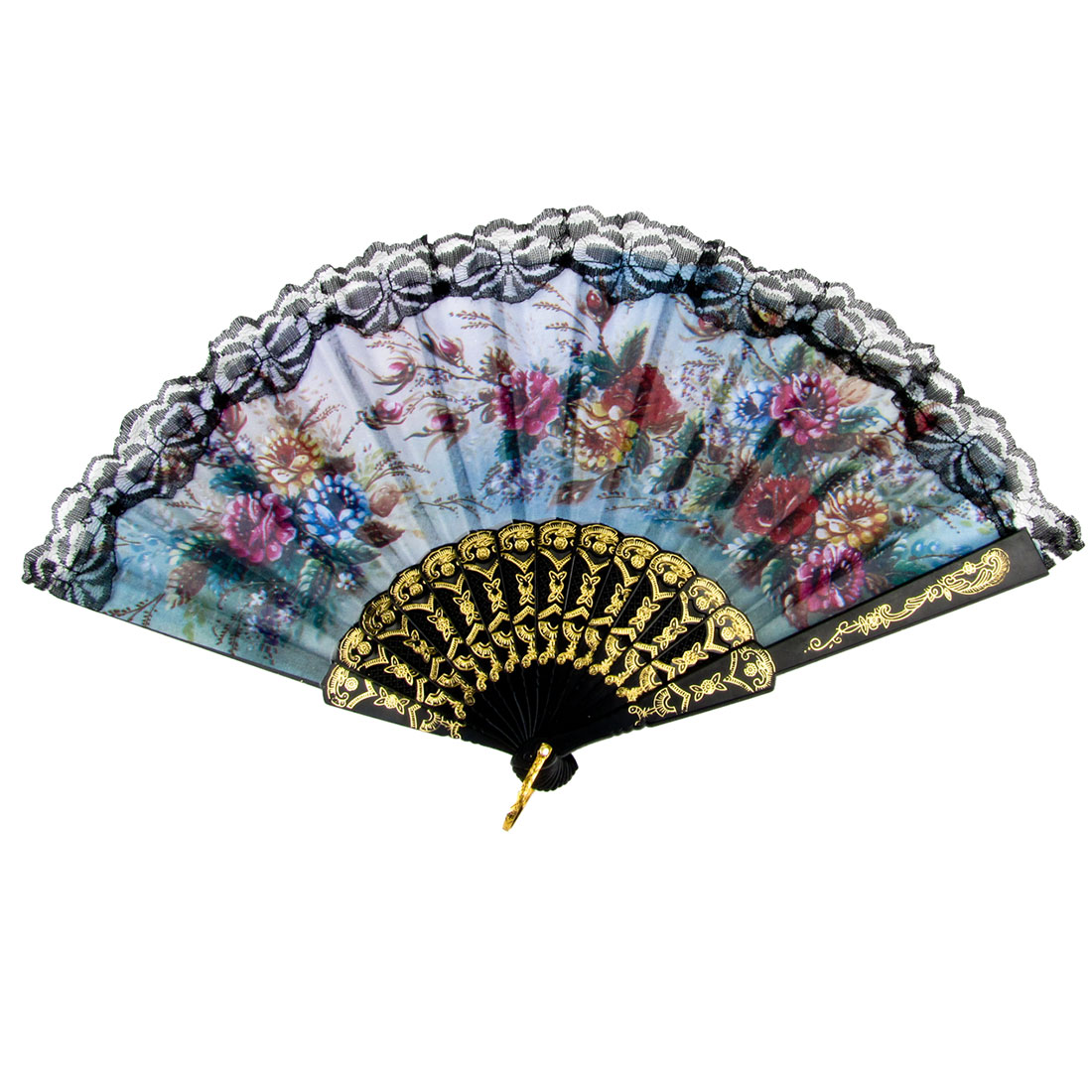 Metal Hanging D Ring Colorful Flower Print Folding Hand Fan for Lady