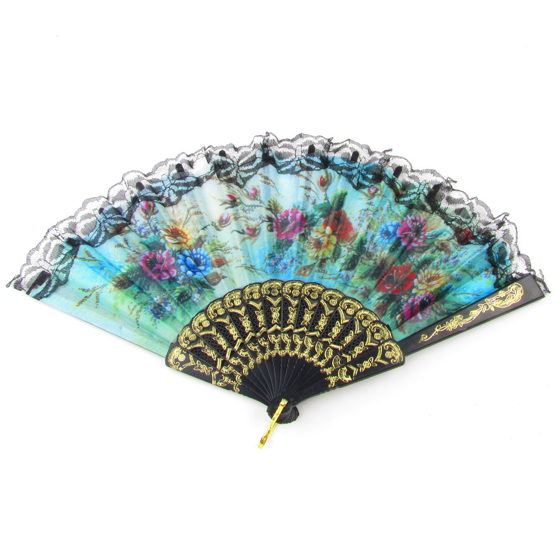 Lady Colorful Floral Plastic Ribs Lace Decor Folding Hand Fan