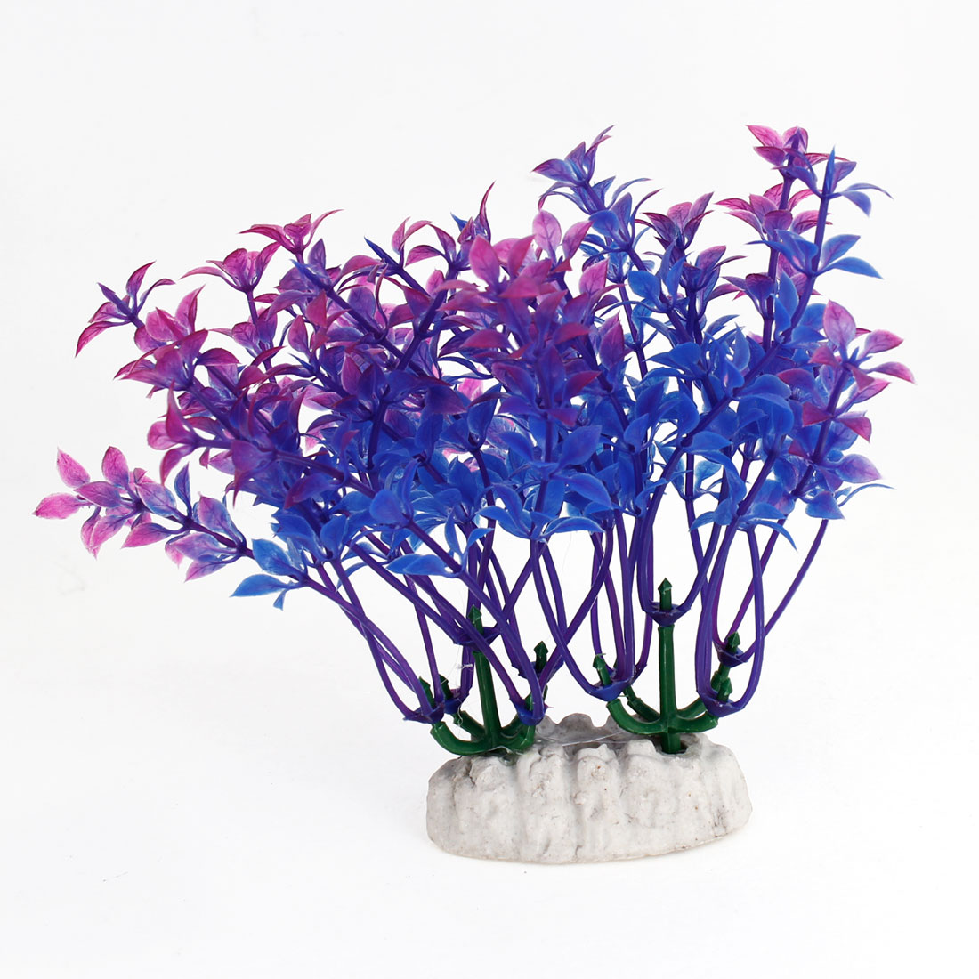 "4.9"" Height Blue Fuchsia Artificial Aquarium Decoration Grass Plants 2PCS"