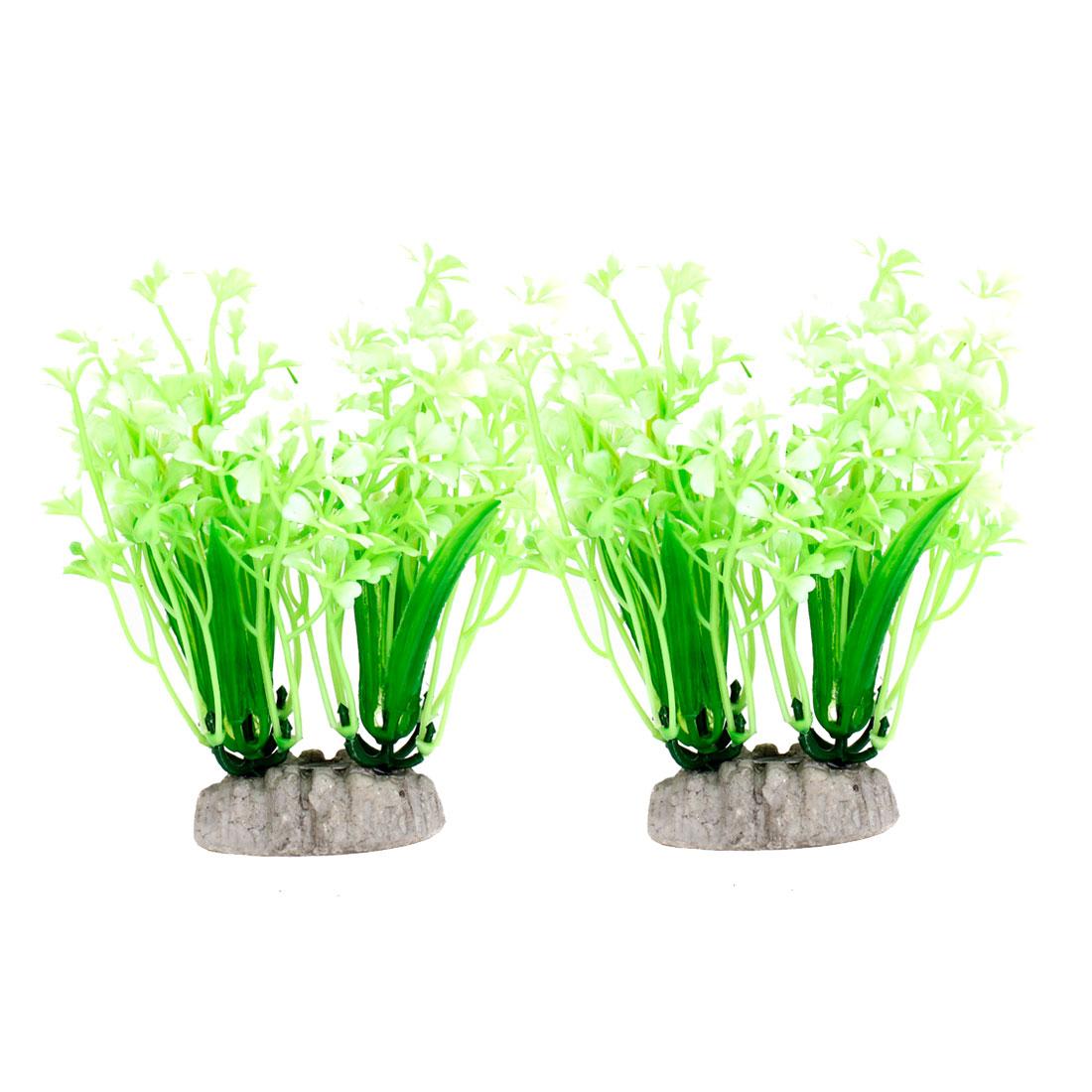 "4.9"" Height Light Green White Artificial Aquarium Decoration Grass Plants 2PCS"