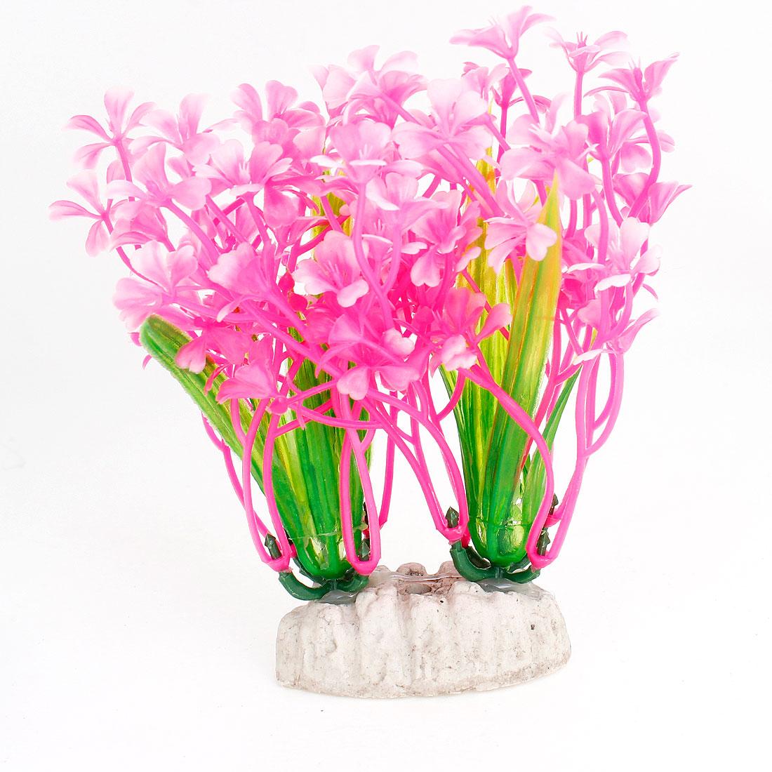 2 x Fish Tank Aquarium Hot Pink Emulational Plastic Grass Plants 12.5cm High