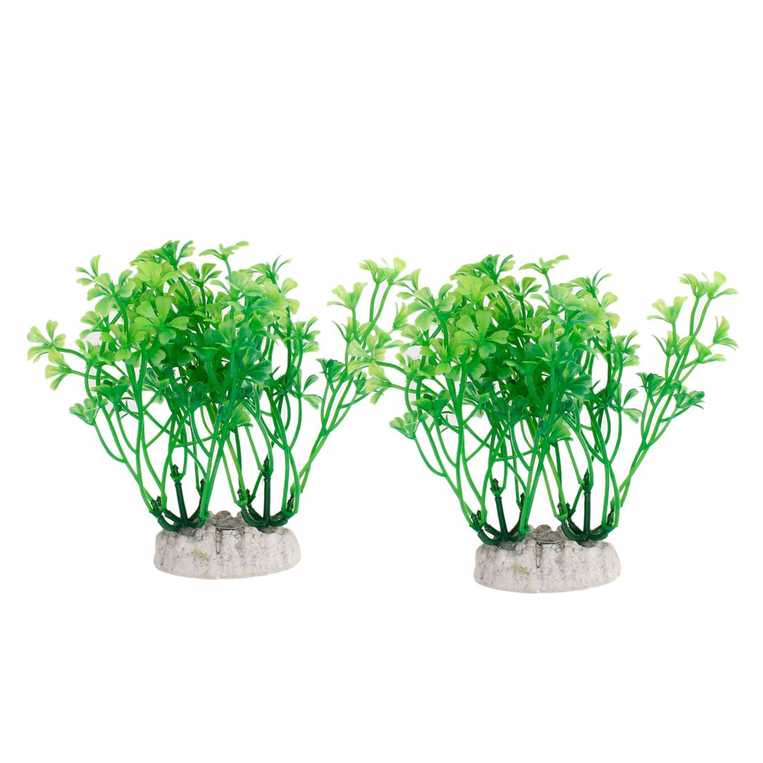 2pcs Ceramic Base Manmade Plastic 12.5cm High Grass Green for Fish Tank Aquarium