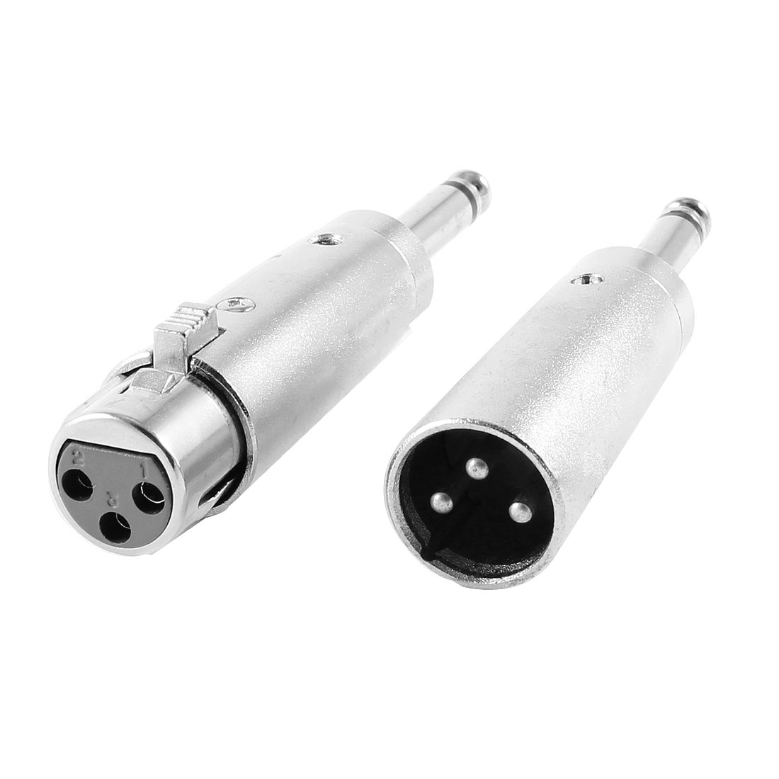 "Pair XLR 3 Terminals Female + Male to 6.35mm Mono 1/4"" Jack Adapter Silver Tone 2 PCS"
