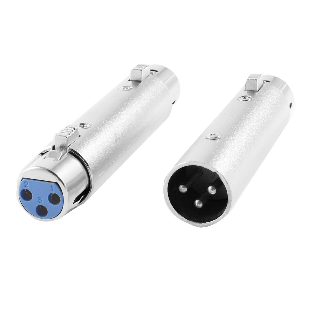 Pair XLR 3 Pin Female + Male to XLR 3 Pin Female Socket Audio Adapter Silver Tone