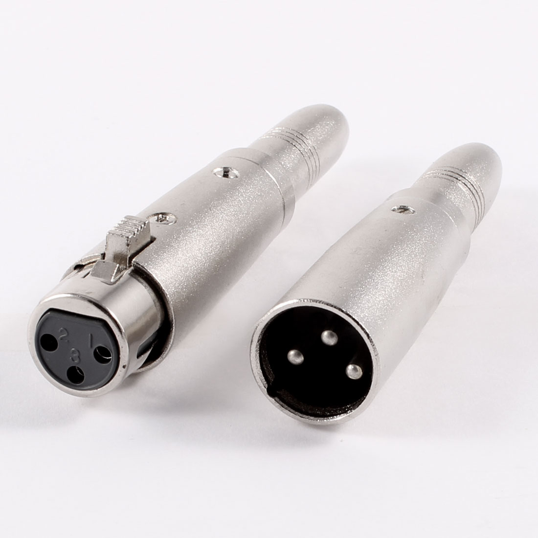 Pair XLR 3P Female + Male to 6.35mm Female Socket Audio Adapter Silver Tone