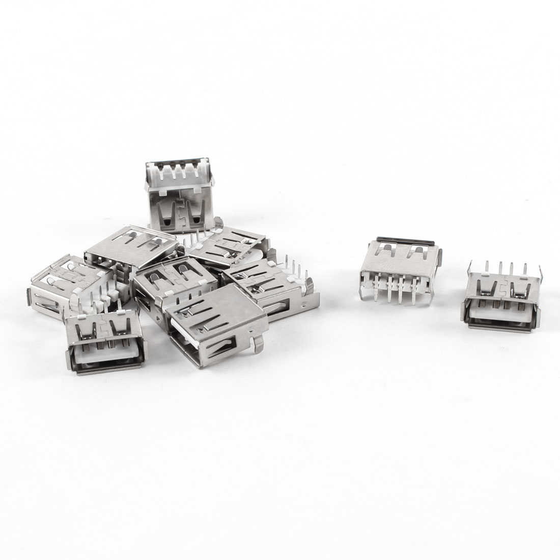 10 Pcs Right Angle 4-Pin Female USB 2.0 A Jack Socket Connector
