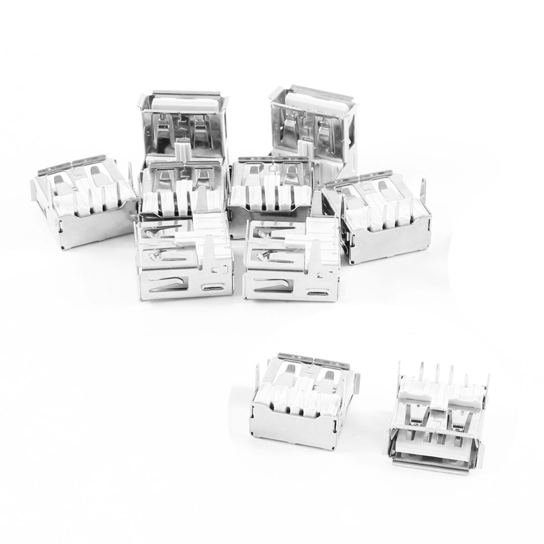 10 Pcs USB 2.0 A Female Right Angle Mount PCB Port Jack Connector