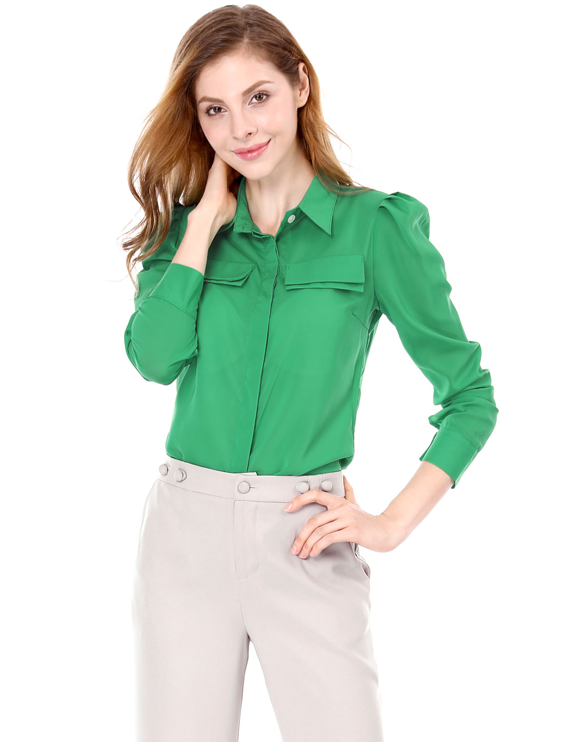 Women Stylish Long Puff Sleeve Design Green Button Down Shirt M