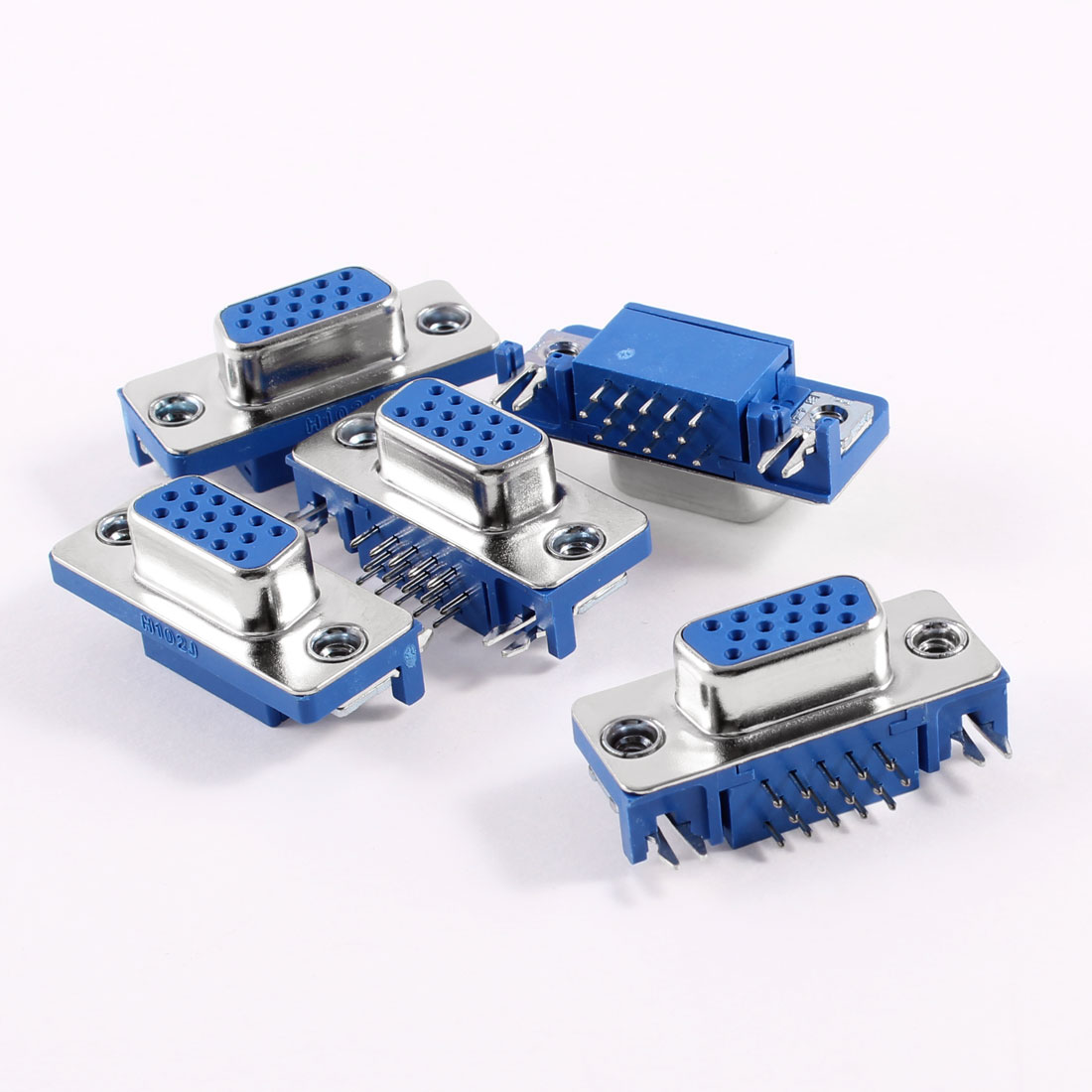 5 Pcs VGA 15 Pin Female Right Angle PC Connectors Adapter