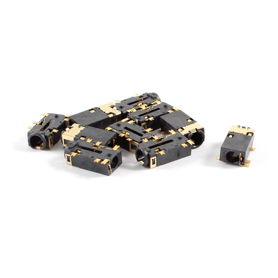 10 Pcs PCB Mount 6 Terminals Female 3.5mm Headphone Audio Jack Gold Tone Plated
