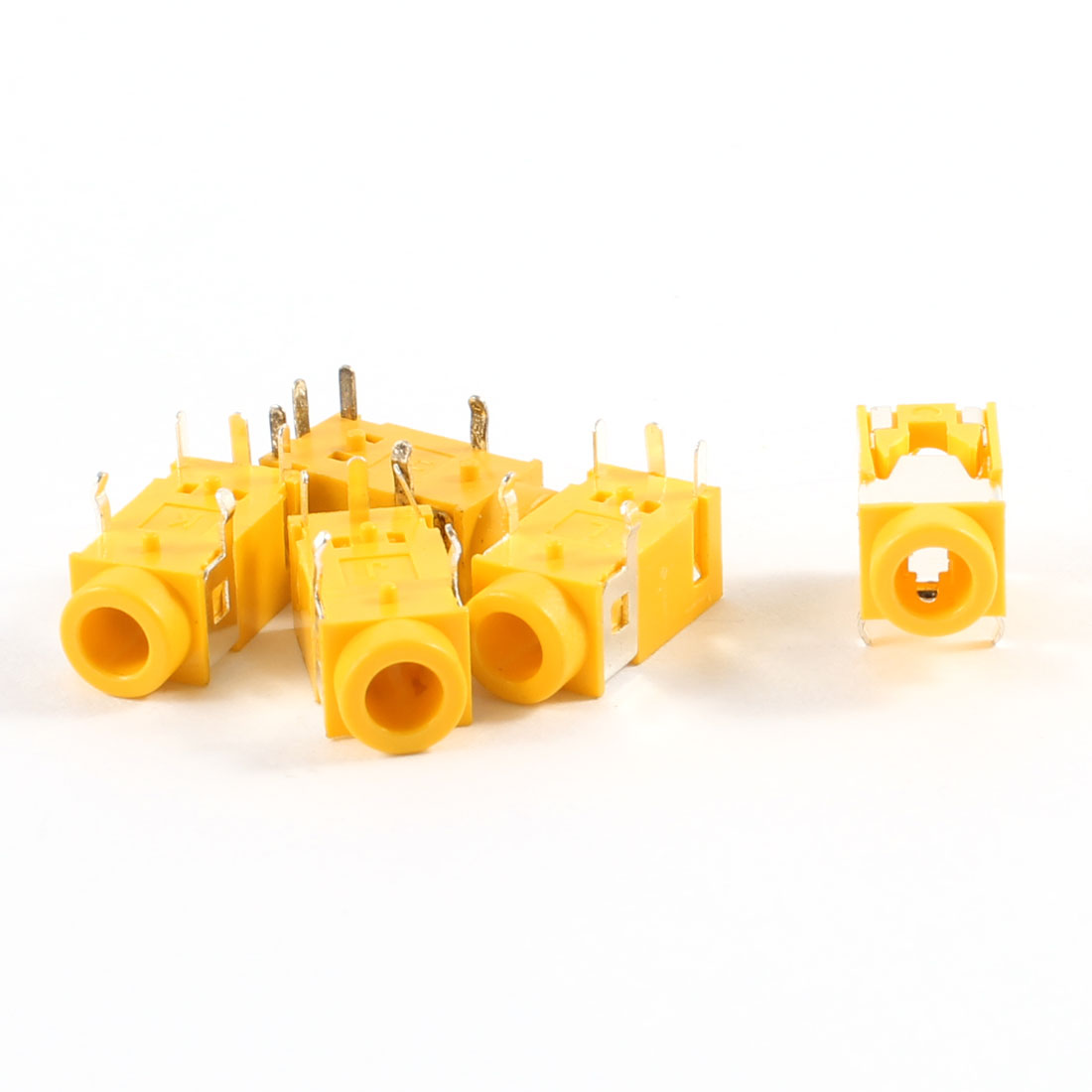 5 Pcs 5 Pin Terminals Female 3.5mm Audio Jack Socket Connector Yellow